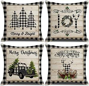 "KACOPOL Christmas Buffalo Plaids Pillow Covers Christmas Tree Truck Farmhouse Decor Cotton Linen Throw Pillow Case Cushion Cover 18"" X 18"" 4 Pack Christmas Decorations (Christmas Plaids & Joy)"