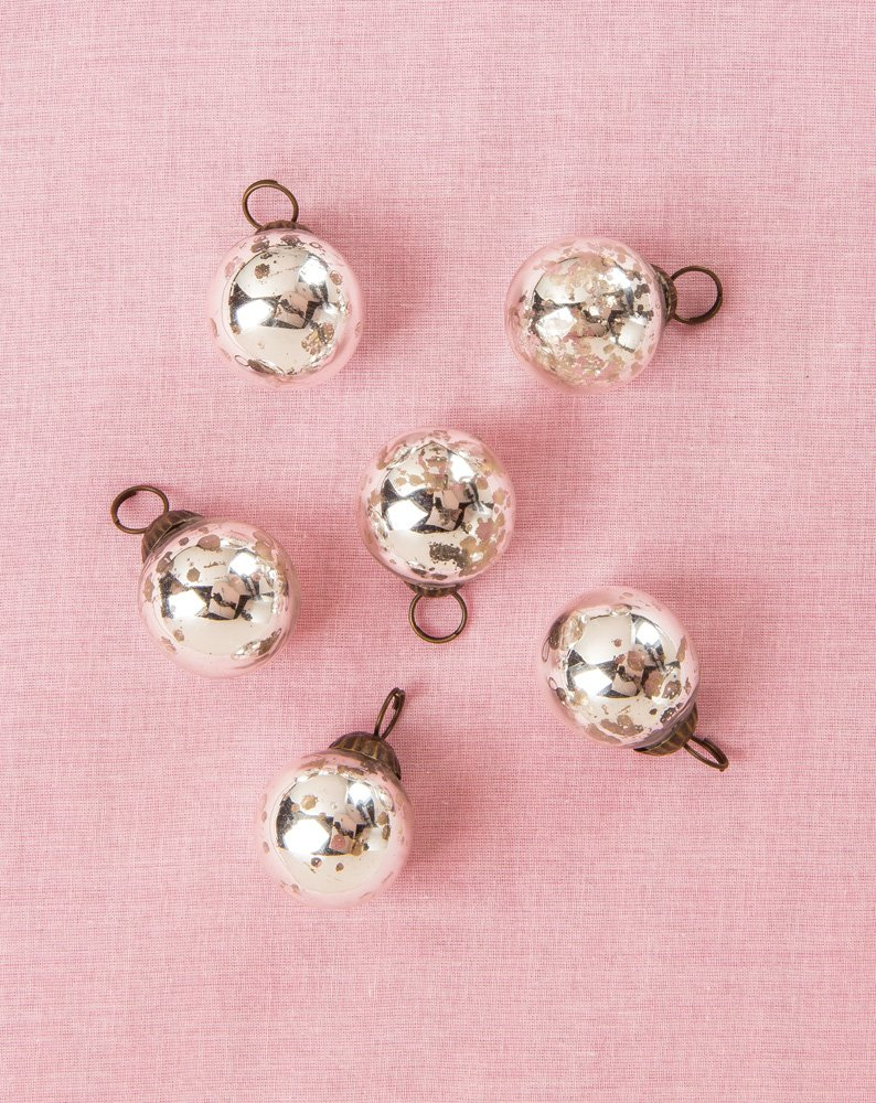Mini Mercury Glass Ornament Sets Ava Design | ChristmasTablescapeDecor.com