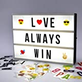 A4 DIY Cinema Light Box With 351 Letters Emojis Number Free Message Combination // USB Or Battery Powered // LED Cinematic Lightbox Signs Light Up Home, Wedding, Shop Decor // Gift Wrap Available