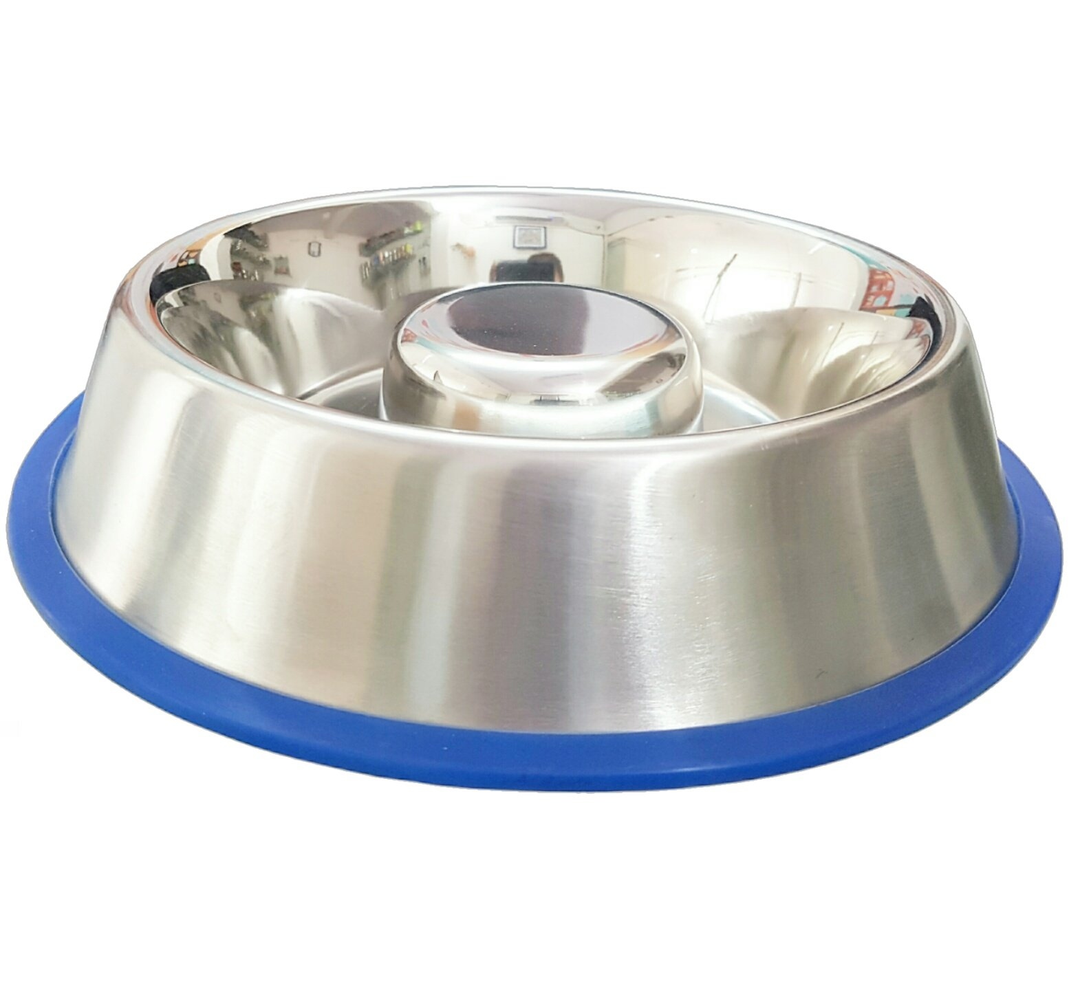 Mr. Peanut's Stainless Steel Interactive Slow Feed Dog Bowl with a Silicone Base, Fun Healthy Bloat Stop Feeder (Medium)
