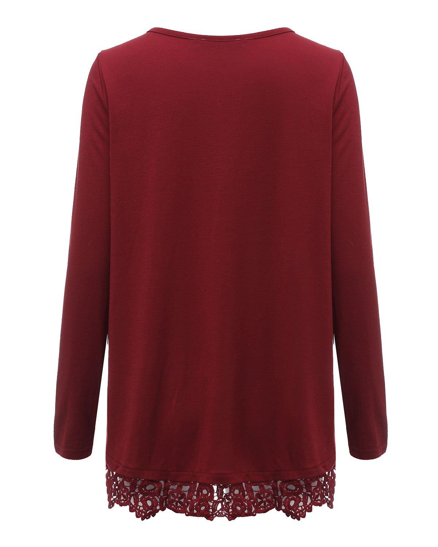 Style Domen kvinnor spets toppar ledig långärmad tunika toppar säckig blus jumper v-ringad pullover toppar Vinrött