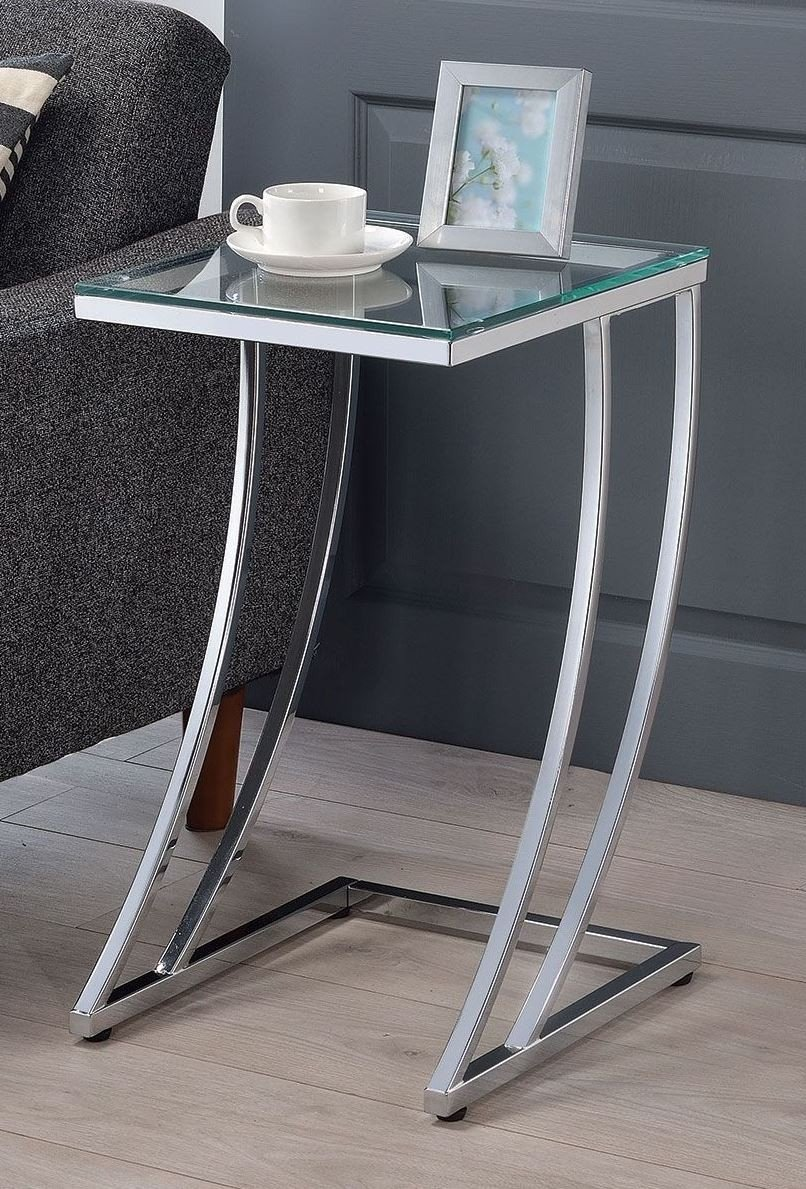 Modern Glass Top End Table Tempered Chrome Metal Base Accent Side