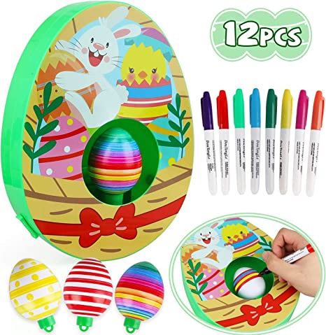 TOY Life Easter Egg Decorating Kit - Easter Egg Spinner A-Mazing Egg Coloring Kit with 8 Easter Egg Markers 3 Decorator Easter Eggs - Egg Coloring Machine - Easter Eggs Painting Kit for Kids Toddlers