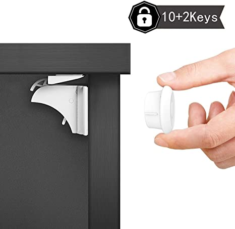 Fridges 10 Child Proof Baby Safety Locks For Cabinets and Furniture toilets 10 Pack child safety cabinet locks Can be used on Drawers etc. Stoves Cupboards Doors Adhesive Means No Screws or Tools Required for Installation