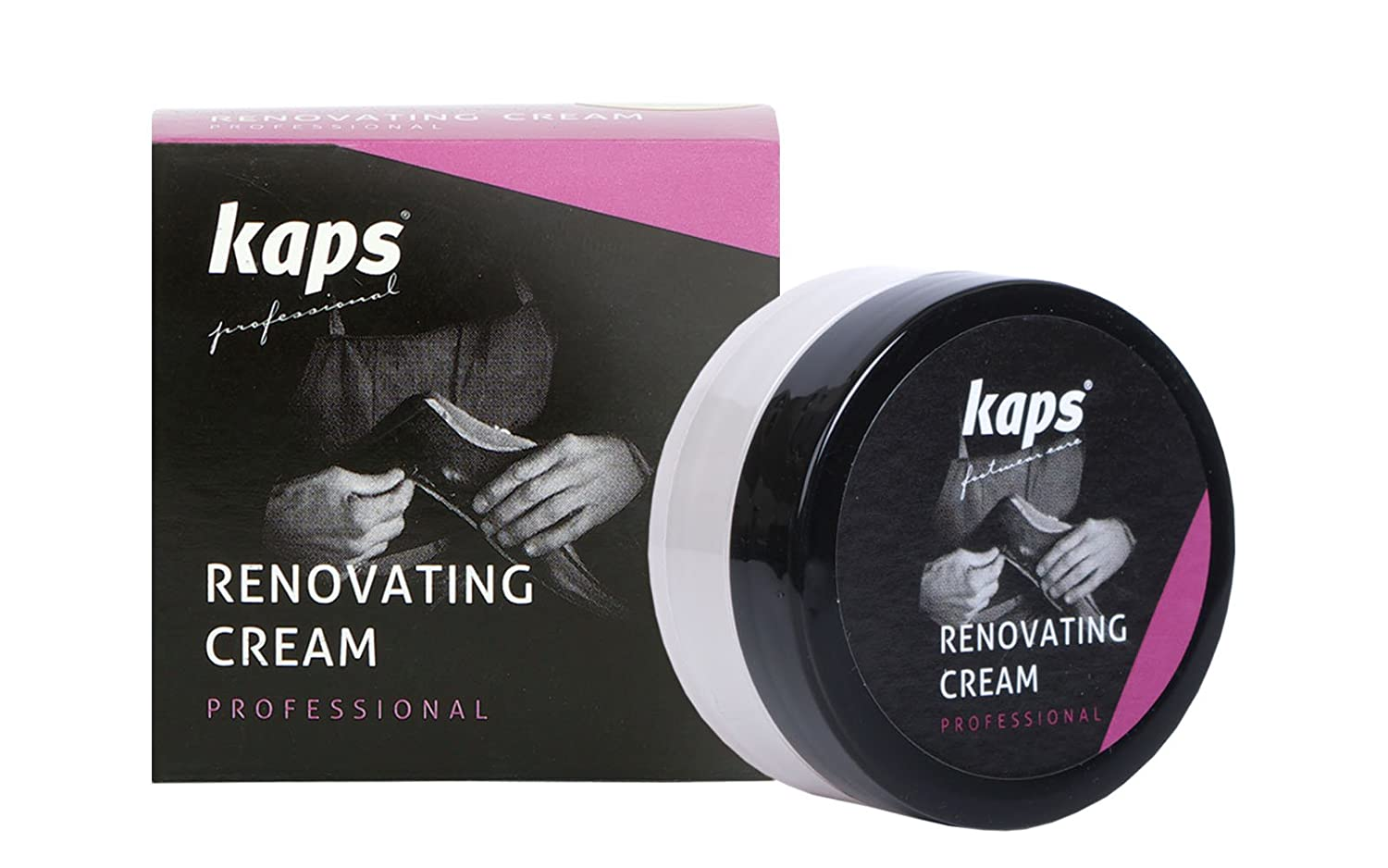 Renovating repair shoe cream for smooth leather, scratch and scuff cover, Kaps Renovating Cream, 10 colours 04_1_5047_100