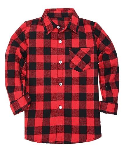 363eb437c Boys Long Sleeves Button Down Plaid Flannel Shirt Tops, Red Black, Age 18M-