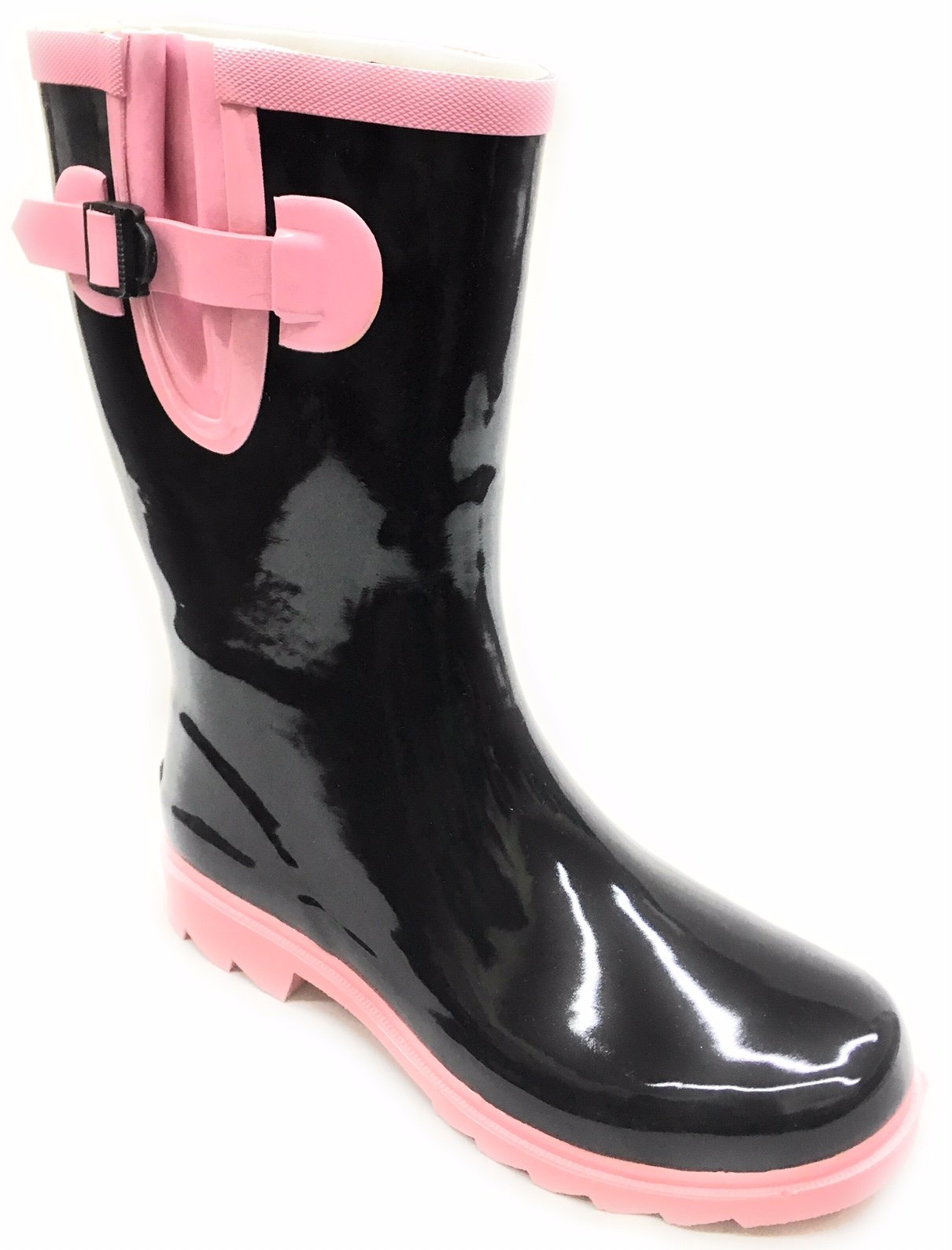 Forever Young Women Mid-Calf Pink/Black Rubber RAIN Boot,8