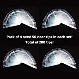 Pack of 4 - GOGOONLY 50 Clear Tips Fan-shaped Nail Art Display Chart Acrylic False Tips Practice Tool - 200 Tips in Total-BH000472