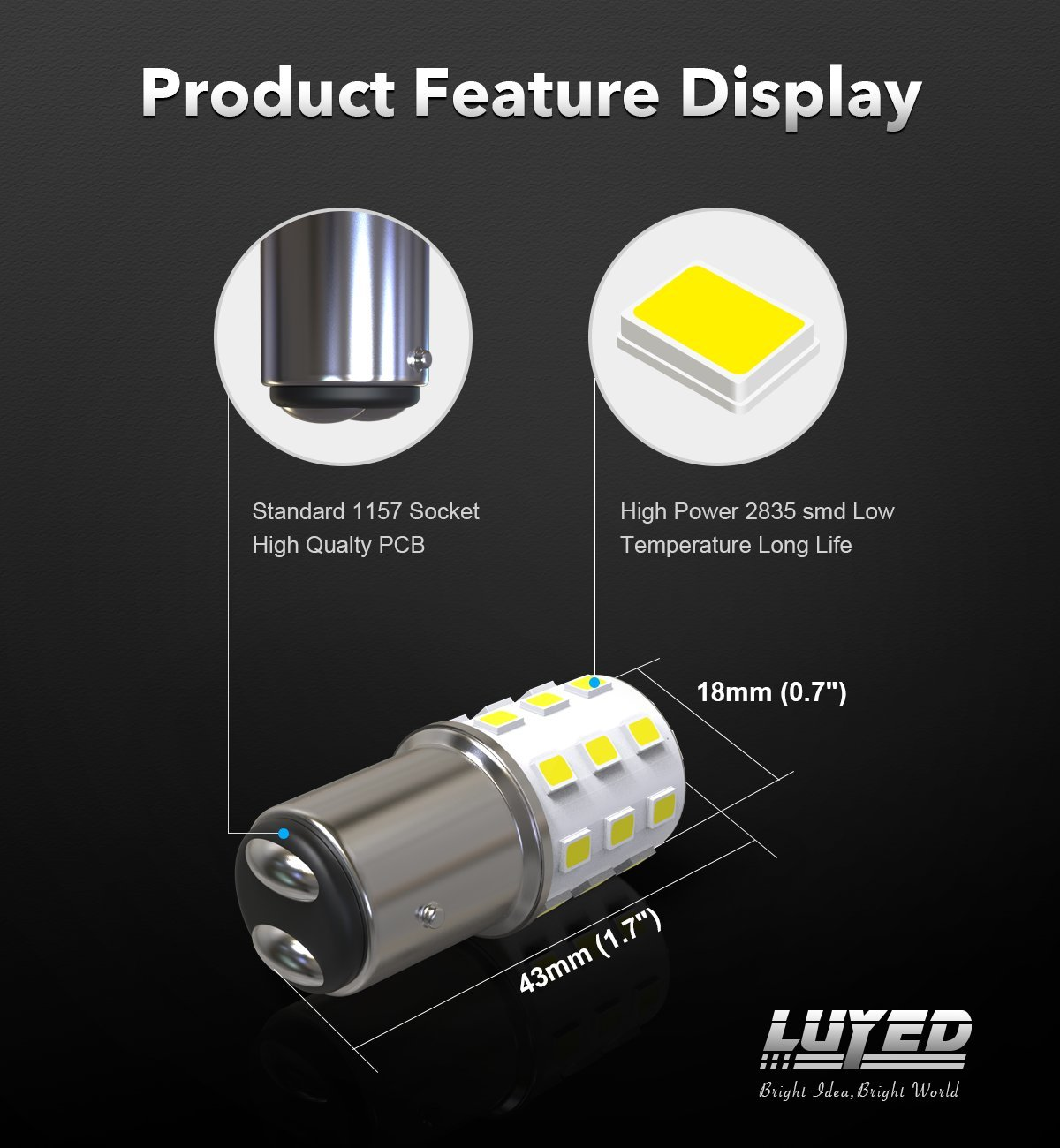 LUYED 2 x 800 Lumens Super Bright 1157 2835 33-smd White Color 1157 2057 2357 7528 LED Bulbs used for turn signal lights,tail lights