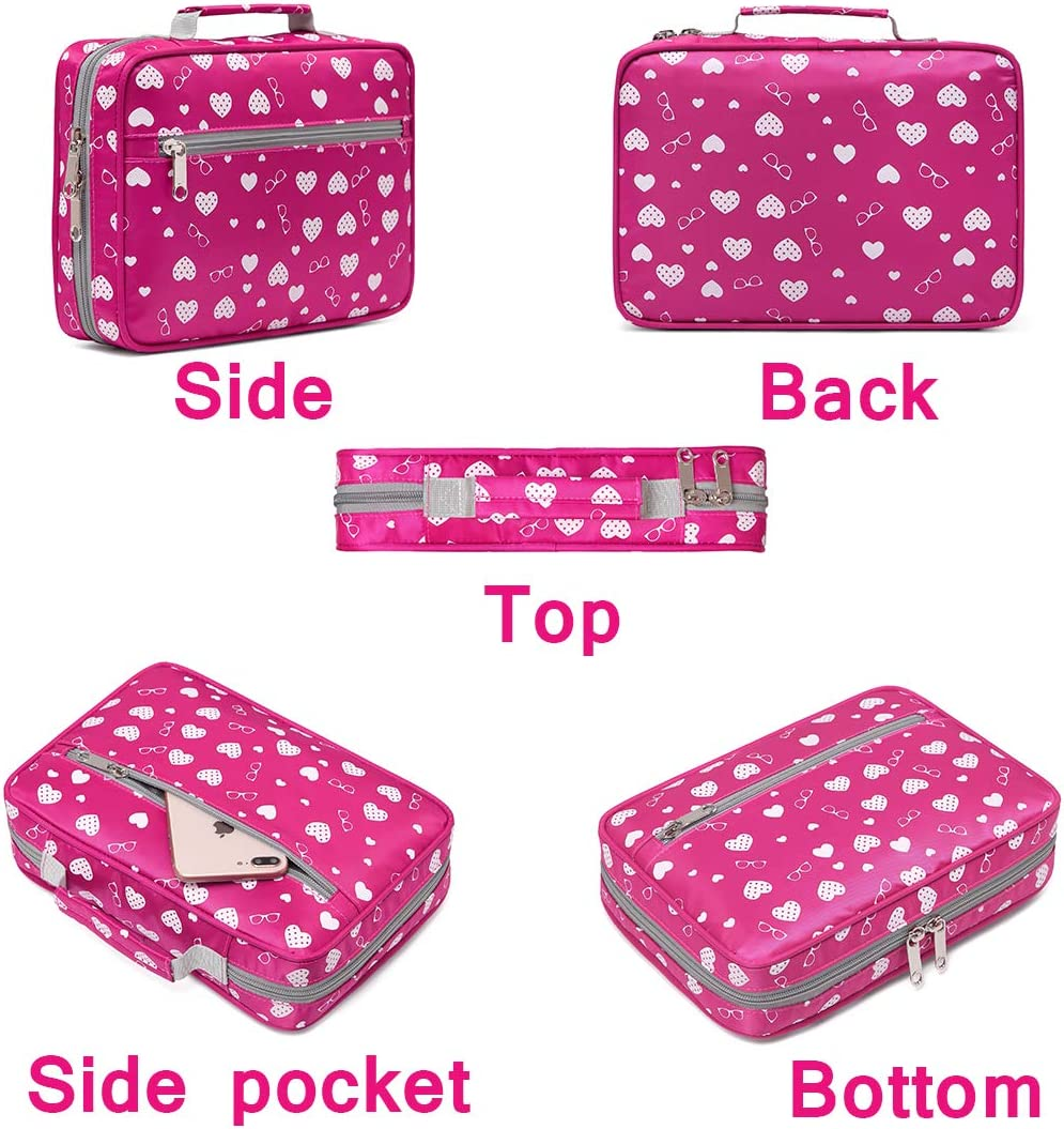 Bible Covers Cases for Girls Kids Study Adventure Bible Carrying Bag Carrier with Pockets Handle Scripture Journal Organizer Good Holy Book Protector Pouch Childrens Handbook Storage Organization Rose