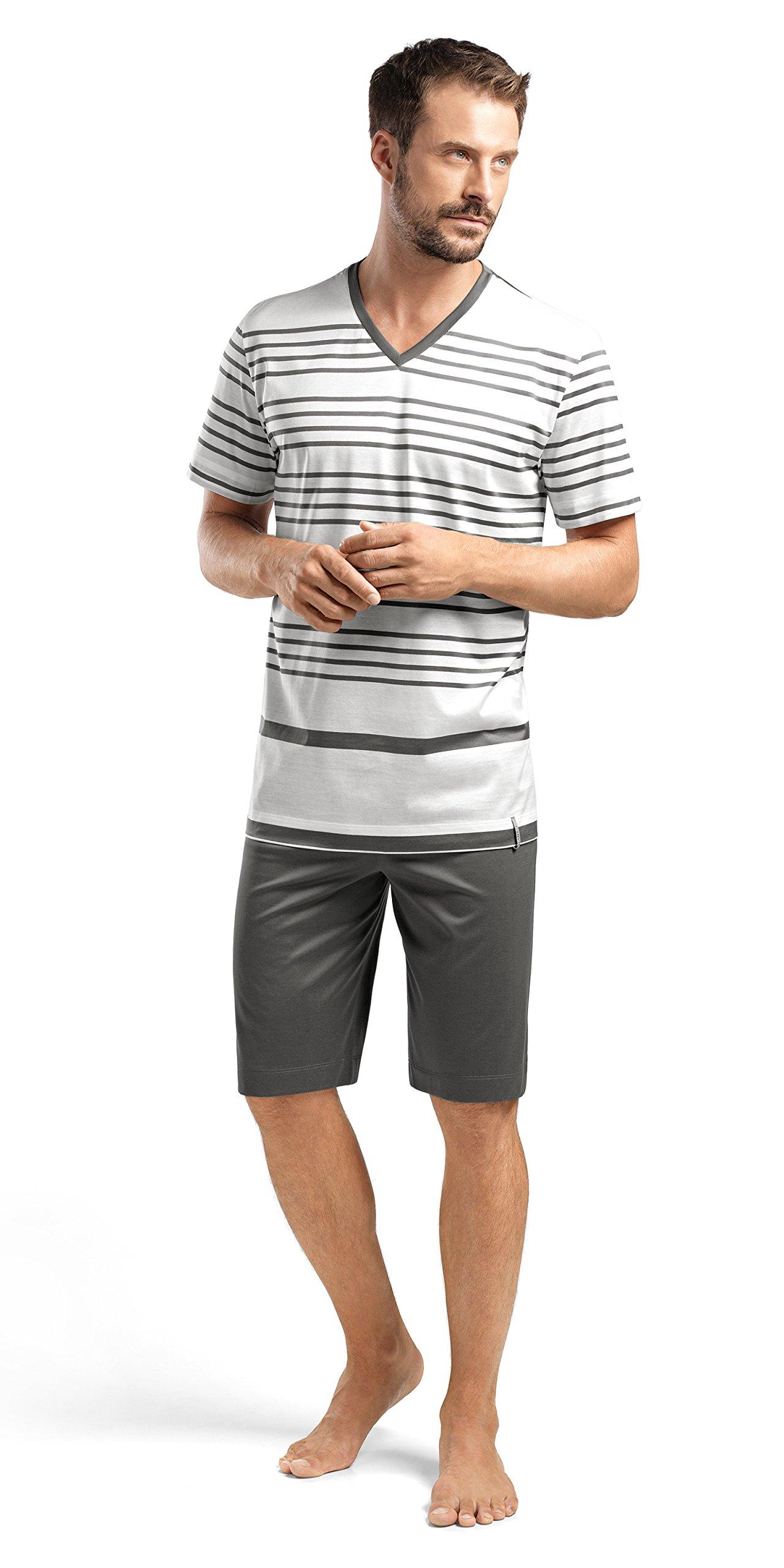 Hanro Men's Oscar Sleeve Short Stripe Pajama Set, Anthracite Stripe, X-Large