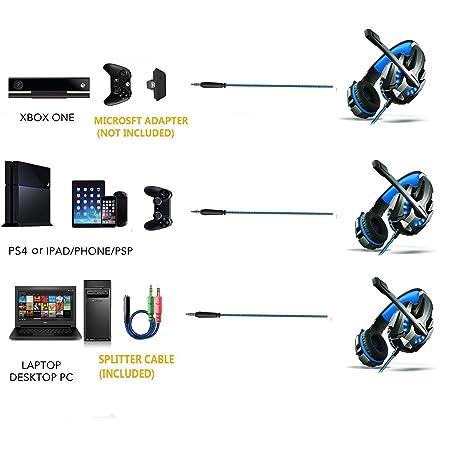 ETPARK Auriculares Gaming - 3.5mm Cancelación De Ruido Gaming Headset, Juego Auriculares con micrófono Xbox One PS4 portátil Mac Tablet iPhone iPad iPod: ...