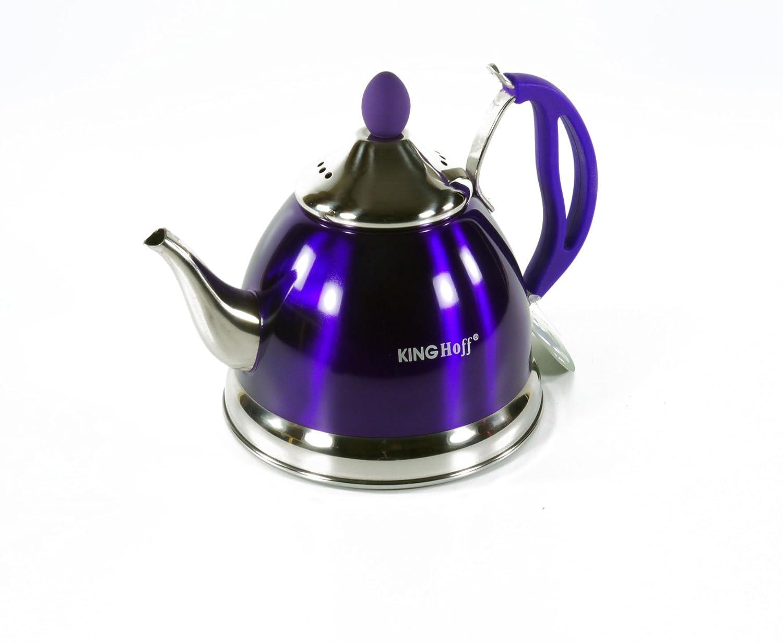 King Hoff Stainless Steel Tea Pot 1L Tea Pot Tea Mulled Wine Coffee Tea 3762 blue