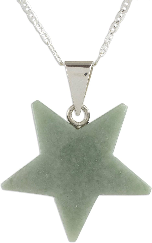 "NOVICA Jade .925 Sterling Silver Pendant Necklace, 18"" 'Stellar Light in Apple Green'"