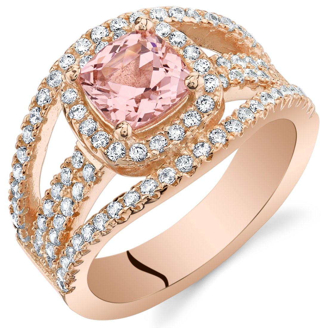Peora Simulated Morganite Rose-Tone Sterling Silver Cushion Pave Ring