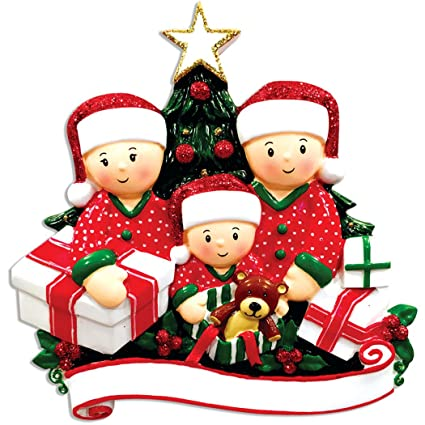 f735b2d03ba Ornaments by Elves Personalized Opening Presents Family of 3 Christmas  Ornament for Tree 2018 - Children
