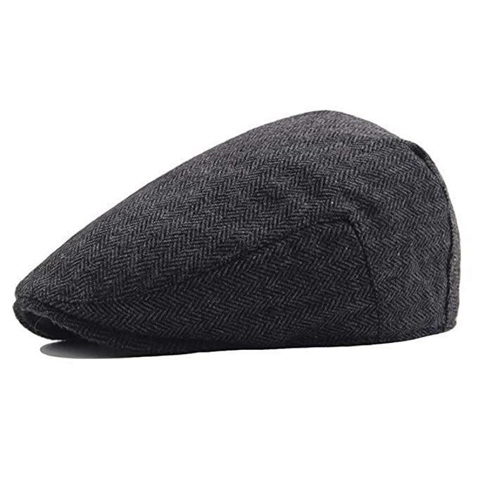 fd8cacfe803 Amazon.com  Ron Kite Retro Flat Cap Autumn Winter Hat Men 30% Wool Berets  Hat Women Visor Cap Lady Casual Black Baseball Cap  Clothing