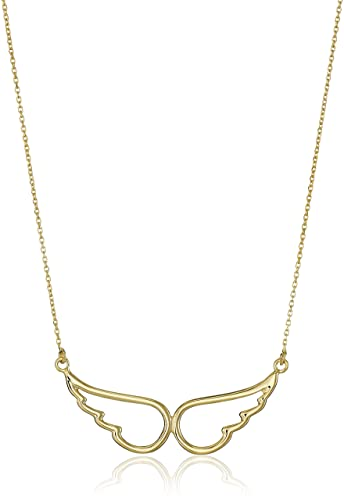 Amazoncom 14k Yellow Gold Angel Wings Necklace 18 Jewelry
