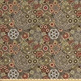 Batik Decor Fabric by the Yard by Ambesonne, Vintage Paisley Forms with Batik Style Flowers and Circles Moroccan Persian Patterns, Decorative Fabric for Upholstery and Home Accents, Multicolored