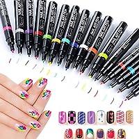 StillCool Nail Art Pens, 16 Colors Set Nail Art Pen for 3D Nail Art DIY Decoration Nail Polish Pen Set 3D Design Nail Beauty Tools Paint Pens Set (6 Random Colors)