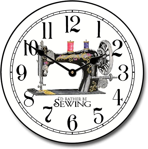 Sewing Room Wall Clock, Available in 8 Sizes, Most Sizes Ship 2-3 Days, Whisper Quiet.