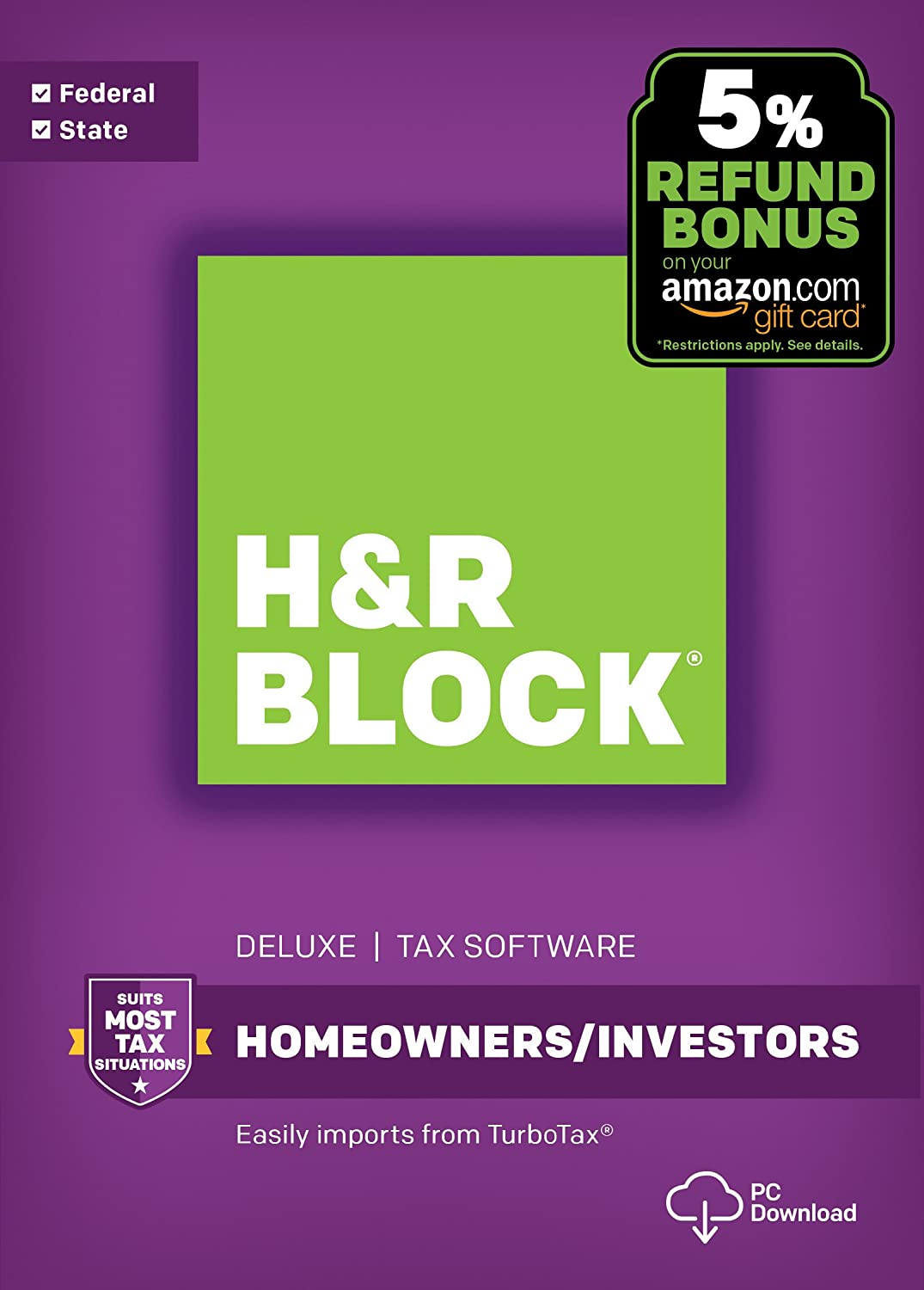 Amazon.com: H&R Block Tax Software Deluxe + State 2017 with 5% Refund Bonus  Offer [PC Download]: Software