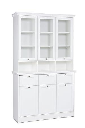 Landhaus Buffet Ina Mit Glastüraufsatz Bht 120 X 200 X 40 Weiß