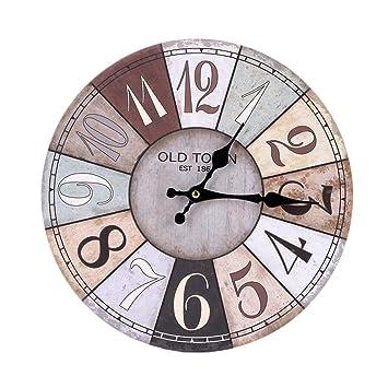 WNQ Horloge, Horloge Murale 50CM Ronde - Muet, Horloge Murale Décorative De  Conception Numérique 2258ca8f061c
