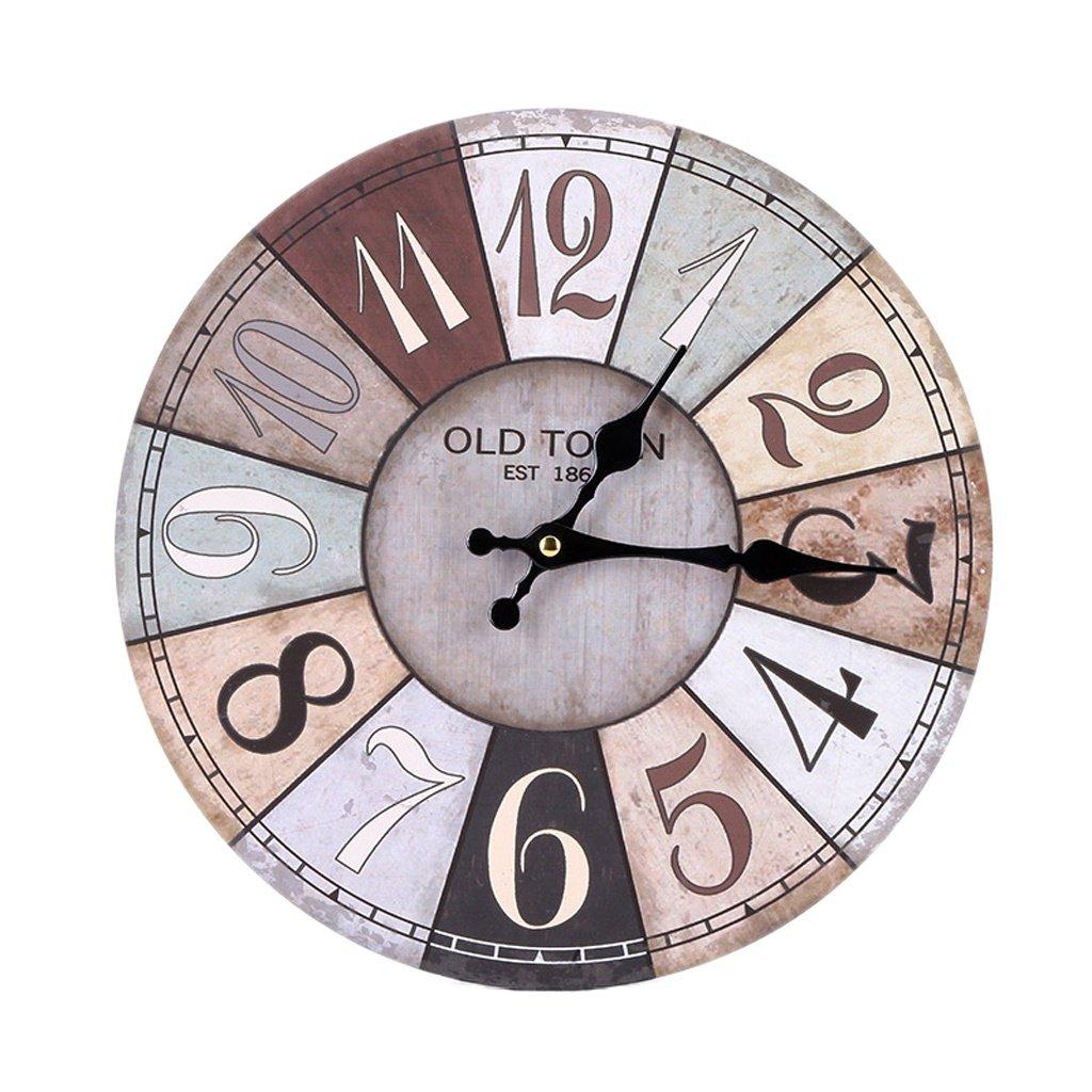 Wanduhr Uhr, 50CM Runde Wanduhr - Stumm, Arabische Digital Design Dekorative Wanduhr, Vintage-Stil (Farbe   A)