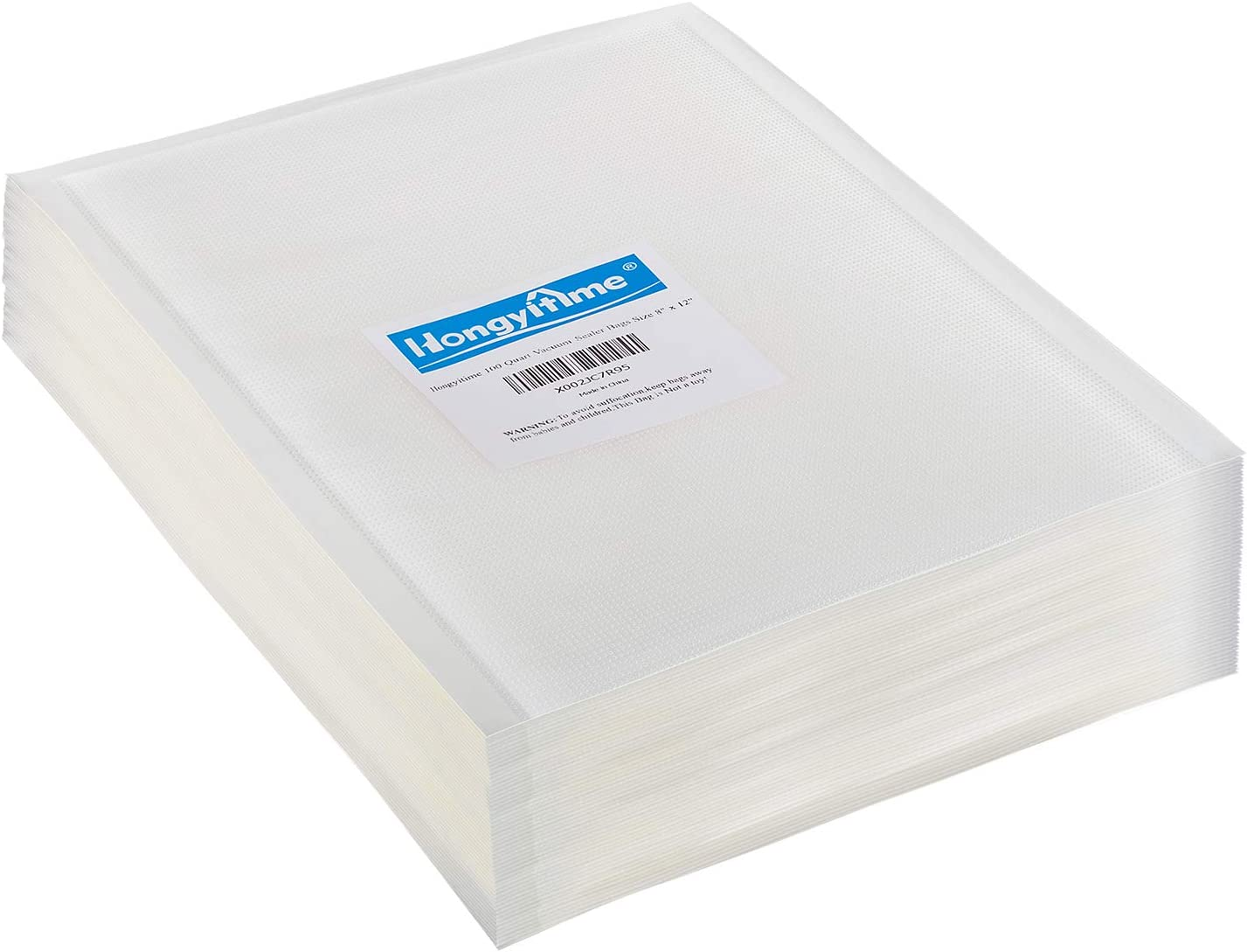 """Hongyitime 100 Quart Vacuum Sealer Bags Size 8"""" x 12"""" for Food Saver, Sous Vide Vaccume Safe, BPA Free,Seal a Meal Type Vac Sealers, Heavy Duty, Great for vac storage, Meal Prep or Sous Vide"""