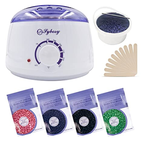 Calentador de cera, kit de depilación de vello eléctrico Sybosy con 4 paquetes de gránulos