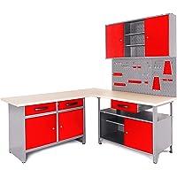 Ondis24 Werkstatt Ecklösung Basic One, 170 cm breit, 2x Werkbank, 1x Werkzeugschrank, Metall, abschließbar, 3x Werkzeugwand - Lochwand, 1x Haken Set (Arbeitshöhe 85 cm, rot)