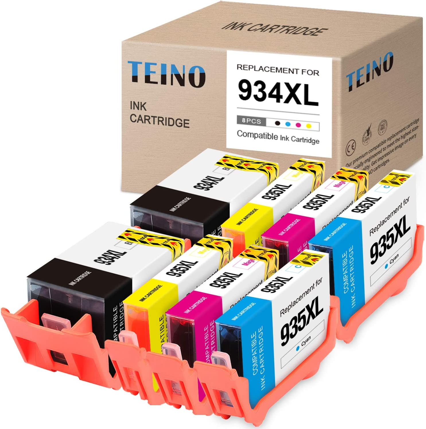 TEINO Compatible Ink Cartridges Replacement for HP 934 934XL 935 935XL use with HP OfficeJet Pro 6230 6830 6835 OfficeJet 6812 6815 6220 6810 6820 (Black, Cyan, Magenta, Yellow, 8-Pack)
