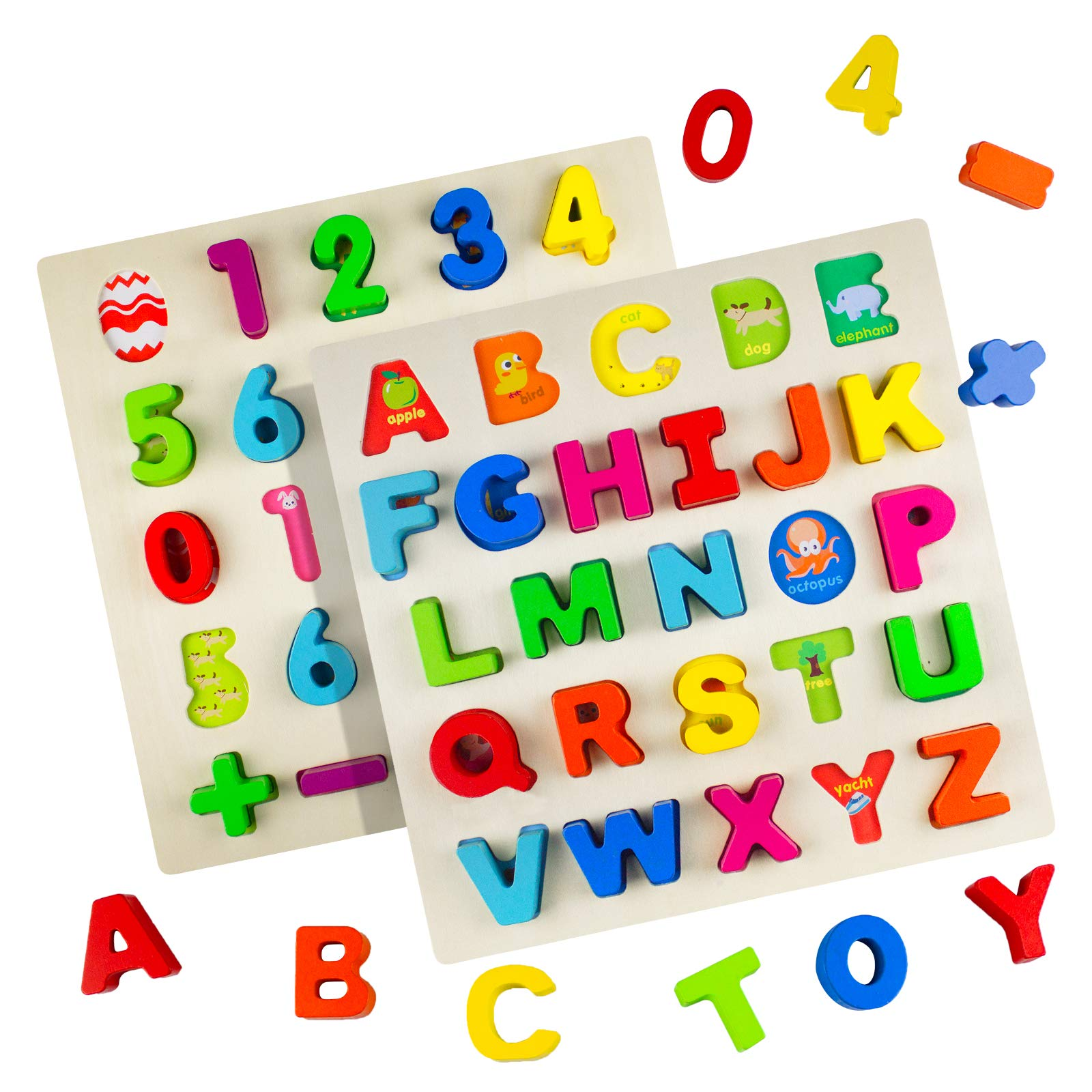 Timy Wooden Alphabet Puzzle and Number Puzzle Set for Toddlers, ABC Puzzle Board for Kids by Timy