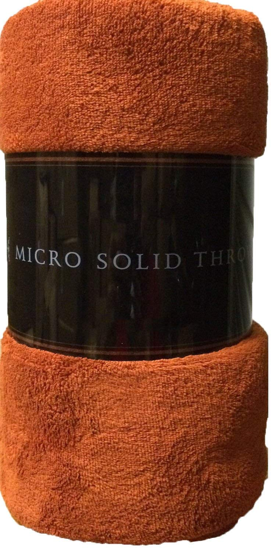 "Ultra Soft Cozy Plush Fleece Warm Solid Colors Traveling Throw Blanket 50"" X 60"" (127 Cm X 152 Cm) (Rust)"