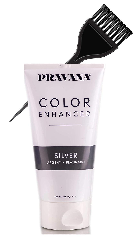 Pravana Color Enhancer, Temporary Color-Depositing Conditioner (w/Sleek Tint Brush) Haircolor Hair Dye (SILVER)