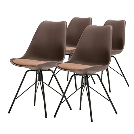 Super Weinerbee Upholstered Dining Chairs Set Of 4 With Metal Legs Casual Kitchen Chair 300 Lb Weight Capacity Brown Squirreltailoven Fun Painted Chair Ideas Images Squirreltailovenorg