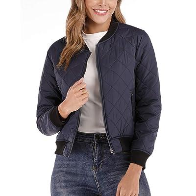 andy & natalie Women's Bomber Jacket Quilted Long Sleeve Zip up Raglan Jacket Pockets at Women's Coats Shop