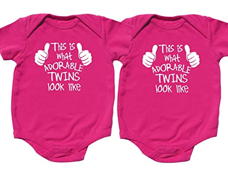 8d20222714a7 Amazon.com  Nursery Decals and More Twin Baby Girls Bodysuits ...