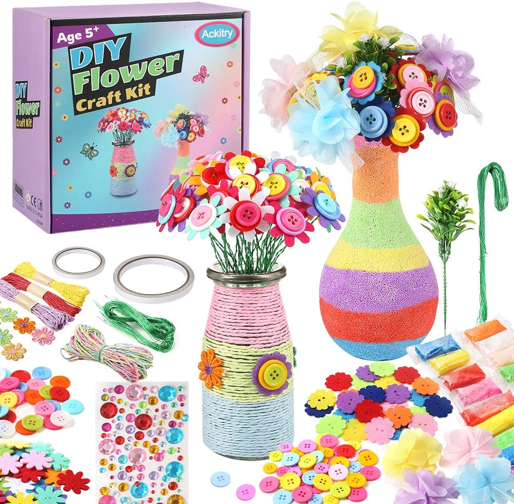 Ackitry 2 Pack Flower Craft Kit DIY Vase for Kids, Make Your Own Flower Bouquet with Buttons Felt Flowers, DIY Activity Gift Crafts for Kids Age 5+ Old Boys and Girls