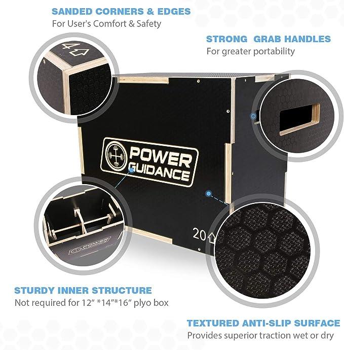 75//60//50cm 40//35//30cm 60//50//45cm POWER GUIDANCE 3 en 1 Plyo Box Id/éal pour lentra/înement crois/é Jump Box