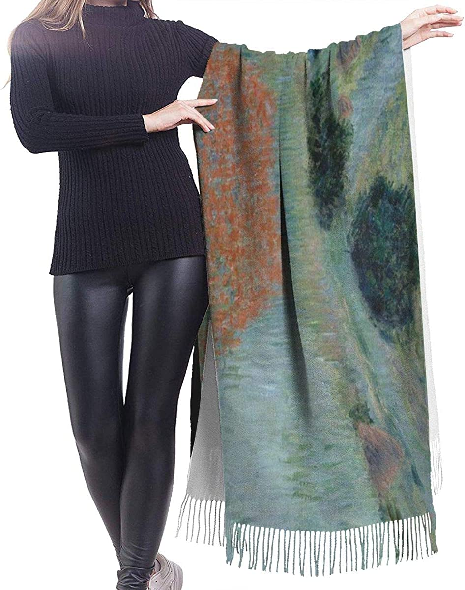 Soft Cashmere Scarf For Women Art Painting Of Poppy Field In A Hollow Near Giverny By Claude Monet Fashion Lady Shawls,Comfortable Warm Winter Scarfs