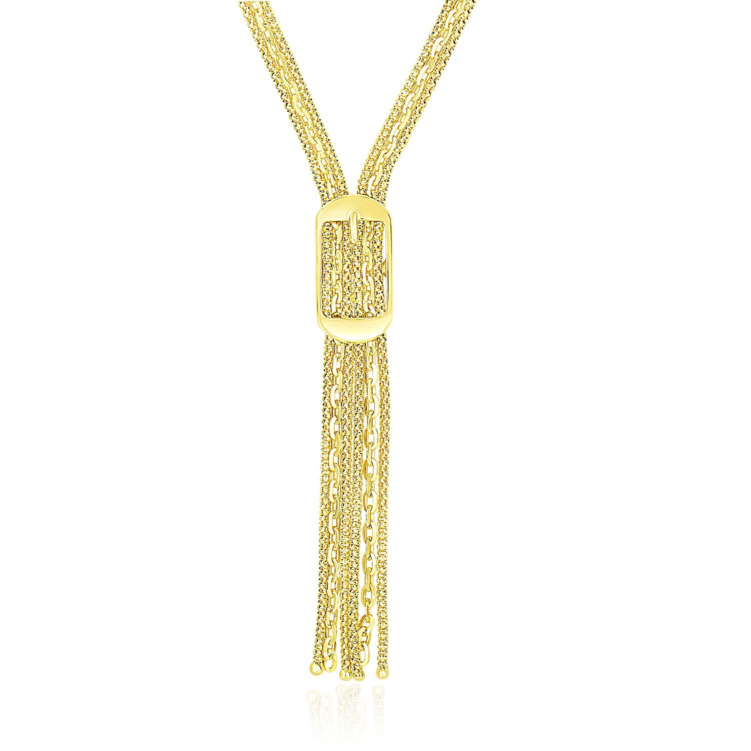 14K Yellow Gold Lariat Buckle Style Multi-Strand Chain Necklace by Jewels By Lux