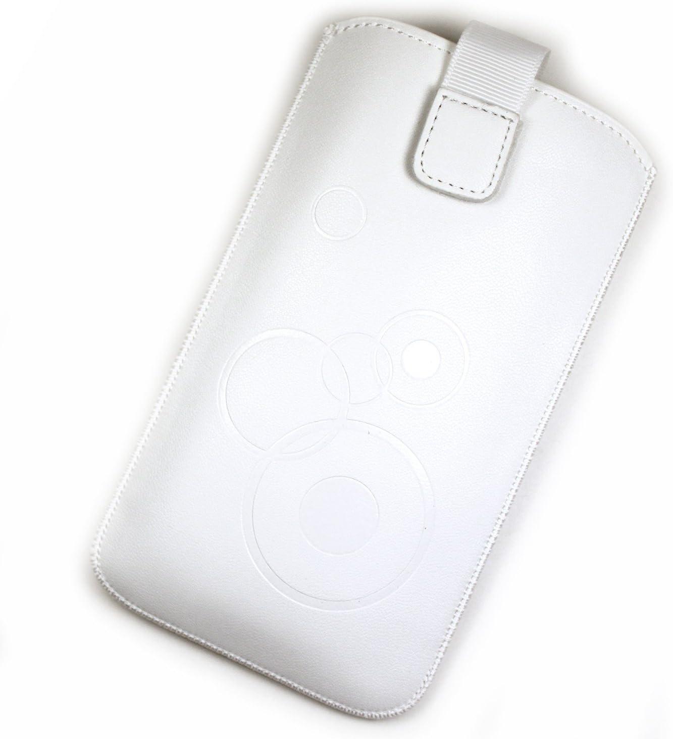 Funda Pochette de piel sintética color blanco para móvil Carrefour Smart 5: Amazon.es: Electrónica