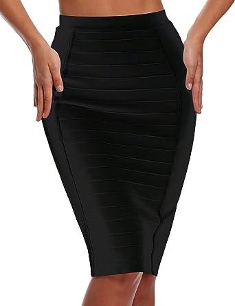 b5d4a37e69 Bqueen Women's Wear to Work Bodycon Bandage Skirt Knee Length BQ11863 (Black,  ...