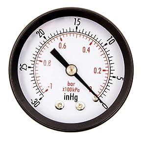 "2"" Dial Utility Vacuum Pressure Gauge, Water Oil Gas, 1/4"" NPT Center Back Mount, Black Steel Case, 30HG/0PSI"