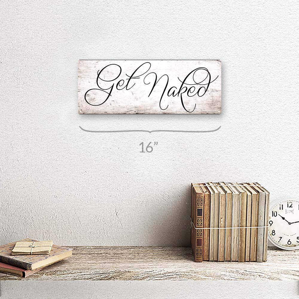BATHROOM DECOR WALL ART Get Naked Metal Sign FARMHOUSE