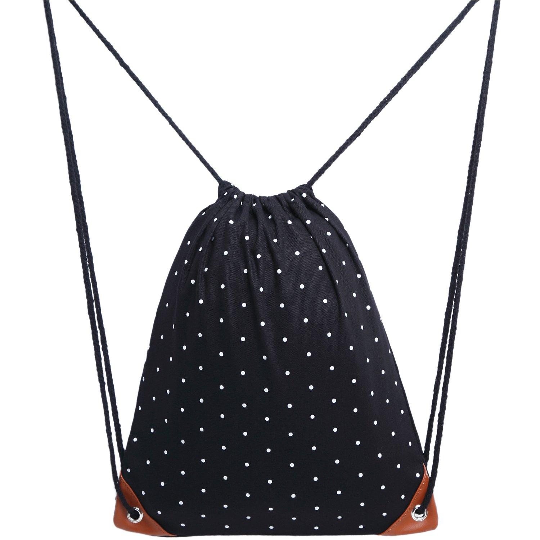 Uworth Polka Dot Canvas Drawstring Backpack Bags with Pockets Gym Bag Sackpack for Girls Black