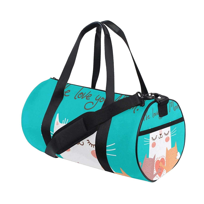 Happy Mother Day Cute Cat Love Mom Sports Gym Shoulder Handy Duffel Bags for Women Men Kids Boys Girls