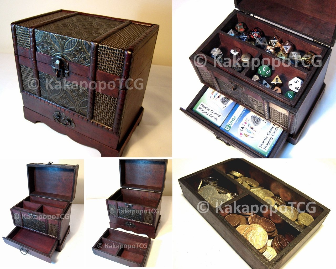 C2 Wooden Chest with drawer for collectible Fantasy Coins Card Games Dice Counter Deck of Cards Table Top Role Playing Jewelry Box Tabletop DND KakapopoTCG